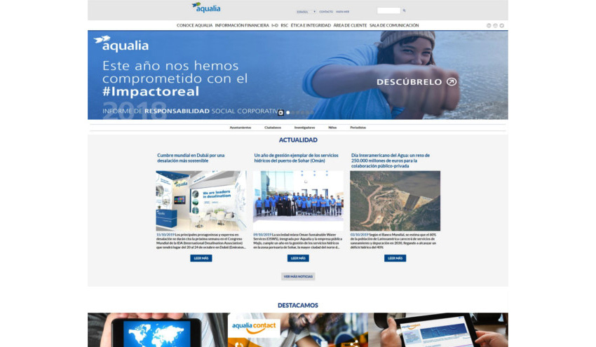 Más de 1,7 millones de visitas a la web de Aqualia en el último año