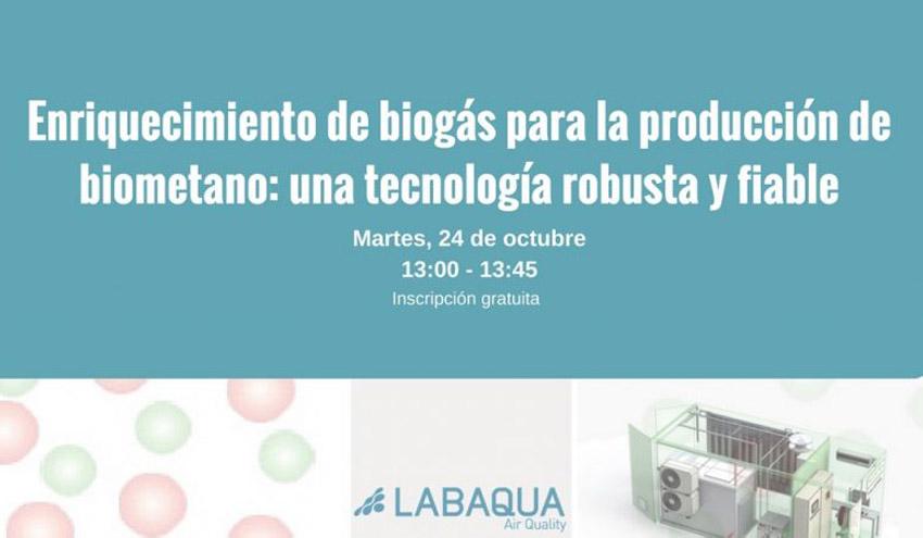 Enriquecimiento de biogás para la producción de biometano, eje de un nuevo webinar de LABAQUA