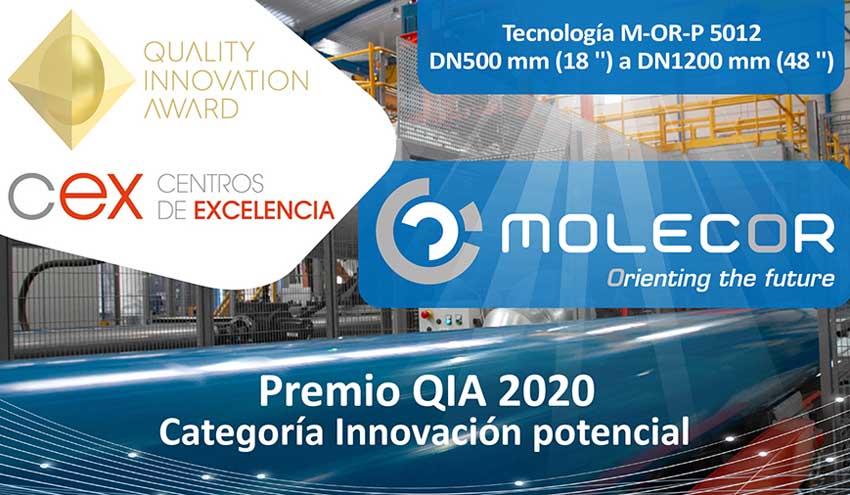 Molecor galardonada en la Categoría de Innovación Potencial del Premio QIA 2020, en su fase nacional