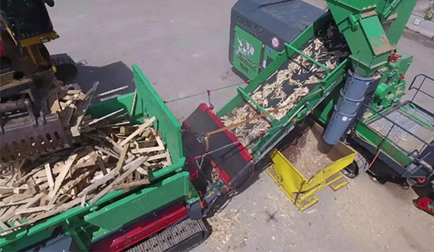Planta móvil para reciclaje de palets de madera