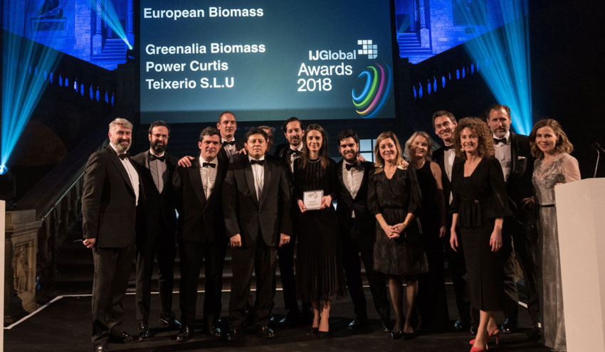 Greenalia recibe el premio IJGlobal al Mejor Proyecto Europeo de Biomasa por su planta de Curtis