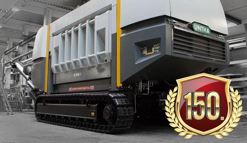 La trituradora de residuos UNTHA XR alcanza un millón de horas operativas
