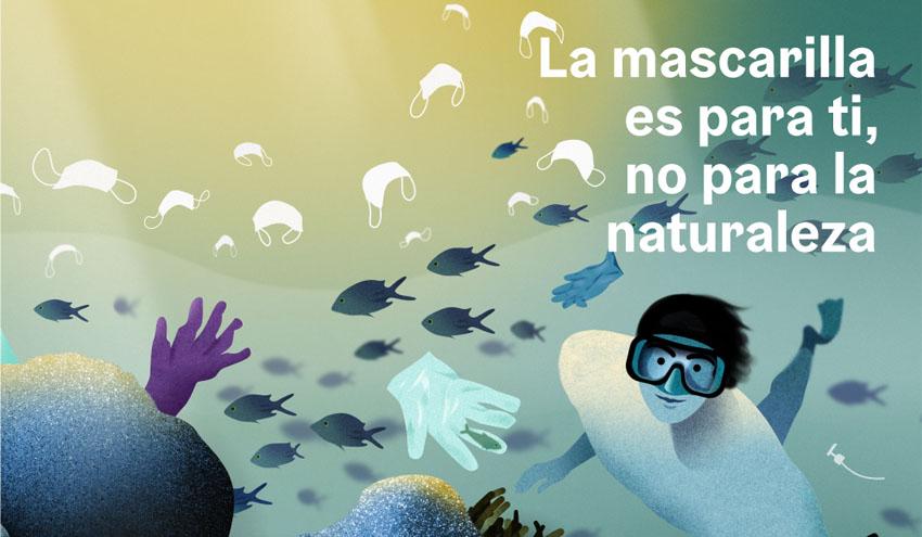 """""""La mascarilla es para ti, no para la naturaleza"""", una campaña institucional para evitar el abandono de residuos"""