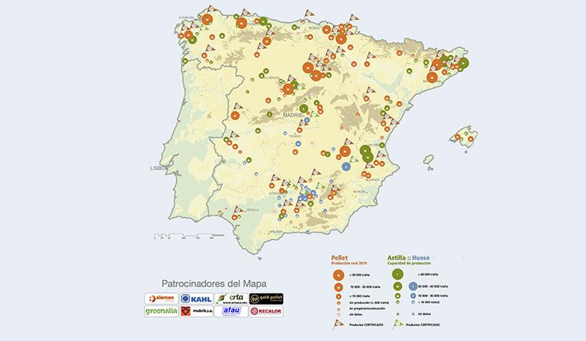 AVEBIOM presenta el mapa actualizado de plantas de producción de biocombustibles sólidos