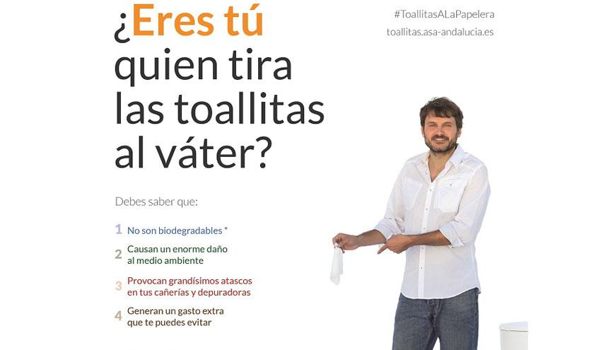 El sector andaluz del agua lanza una campaña para sensibilizar sobre el mal uso de las toallitas