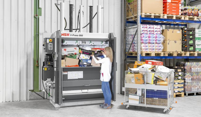 HSM V-Press 860 plus B con apertura de alimentación especialmente ancha