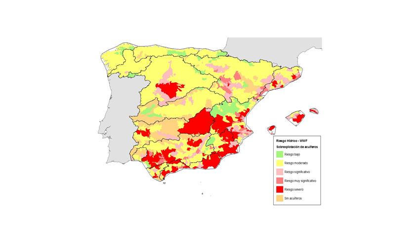 WWF identifica en un mapa las zonas con mayor riesgo hídrico de España