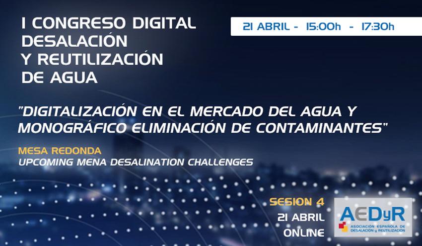 Digitalización del agua y monográfico eliminación de contaminantes, a debate en el Congreso Digital AEDyR