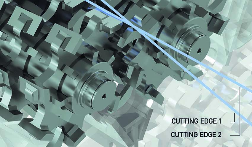 El sistema de corte de eje doble patentado de Lindner garantiza precisión con la máxima eficiencia