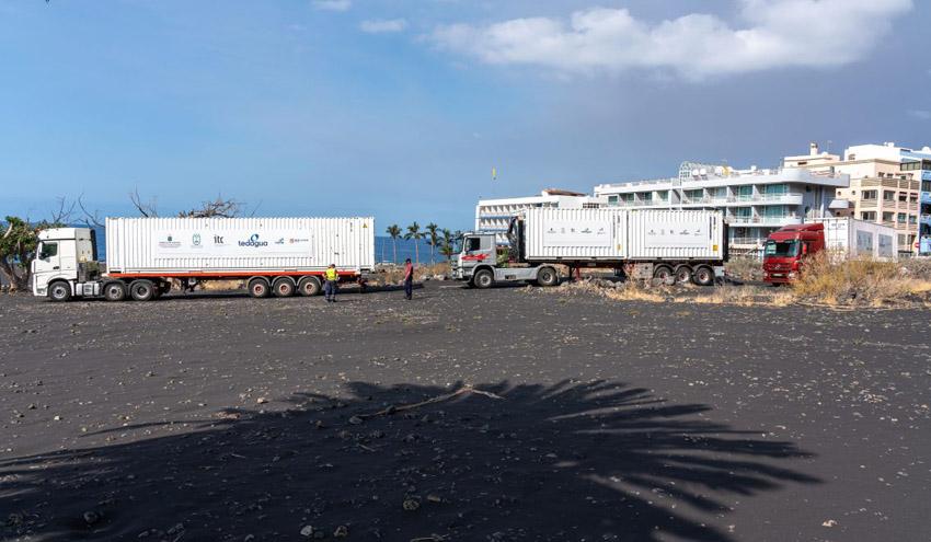 Las desaladoras portátiles para producción de agua de riego en La Palma ya están en Puerto Naos