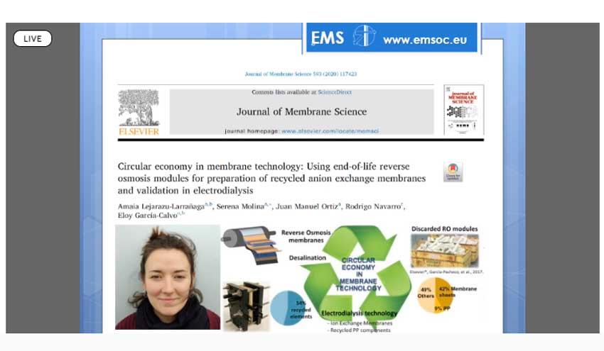 Amaia Lejarazu-Larrañaga, ganadora del premio al mejor artículo científico de la European Membrane Society