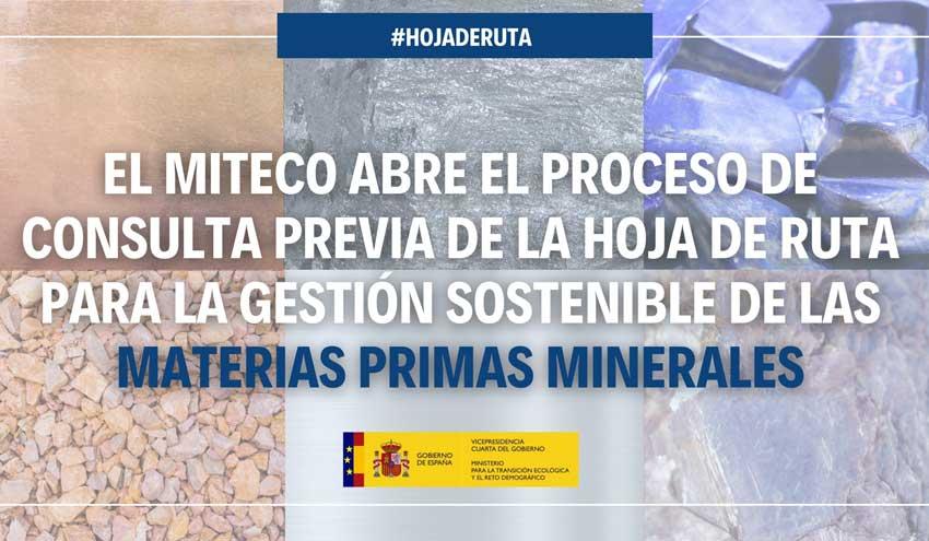 El MITECO elaborará la Hoja de Ruta para la gestión sostenible de las materias primas minerales