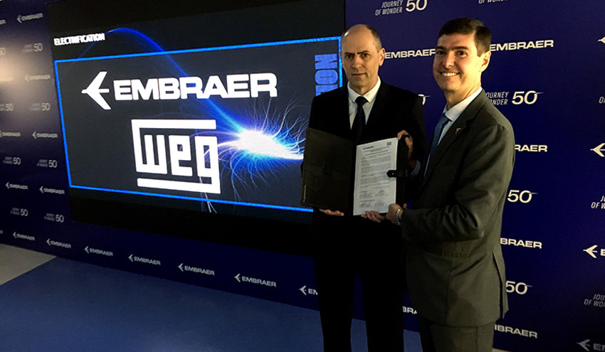 WEG coopera con Embraer para el desarrollo de sistemas de propulsión eléctrica ultra eficientes para aeronaves