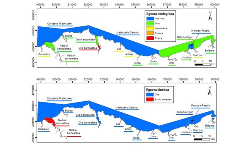 9 de los 14 estuarios y las 4 aguas costeras de País Vasco han alcanzado el buen estado ecológico