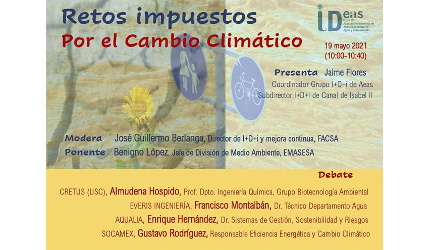 """AEAS celebrará la micro sesión online """"Retos impuestos por el cambio climático"""" el 19 de mayo"""