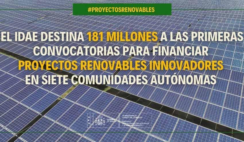 El IDAE destina 181 millones a las primeras convocatorias para financiar proyectos renovables innovadores