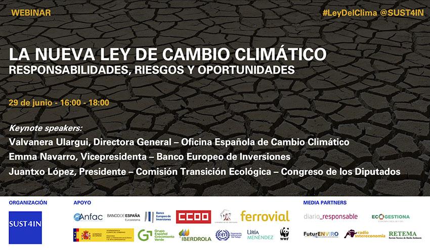 Nuevo webinar de SUST4IN sobre la Nueva Ley de Cambio Climático